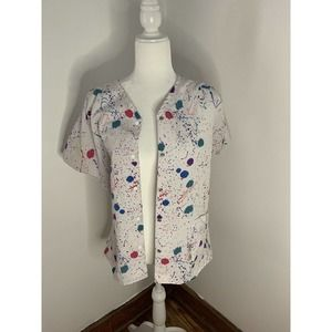 Designer Scrubs by Crest Medical Uniform Scrub Top Button Up Colorful Spots XS